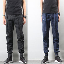 Japanese Style Fashion Men Jeans Vintage Black Color Loose Fit Cargo Pants hombre American Streetwear Hip Hop Joggers