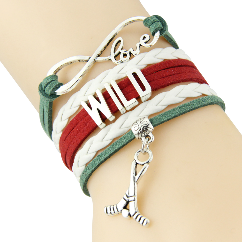 Chain Bracelet Infinite Love WILD Green White Red Cord Golf Dropship