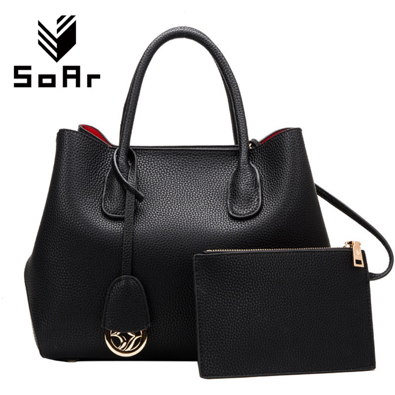 SoAr New Women Handbag Leather Totes Female Shoulder Bags Ladies Messenger Bag Luxury Handbags Women Bags Designer Purses 2 Set купить