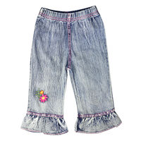 Girls Simple Style Regular Embroidery Flower Pattern Ruched Jeans With Pockets Elastic Waistband Kids Casual Pants