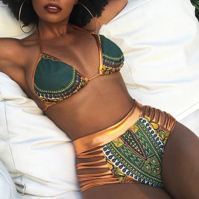 CROSS1946 CROSSS1946 African Print Two-Pieces Bath Suits Bikini Set Sexy Geometric