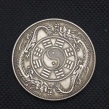 Chinese Foreign Tongbao Double Dragons Taiji baguas Sign Silver Brass Coin Feng shui Replica Lucky Coins for Fortune Collectible free shipping hot sale chinese antique imitation lucky ching dragon coin xuantong three year feng shui replica silver coins