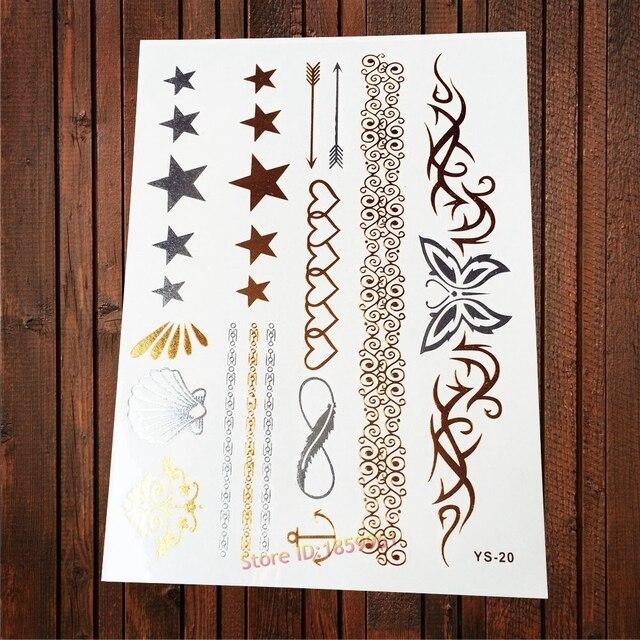 1pc Big Size Henna Butterfly Gold Metallic Temporary Tattoo Sticker