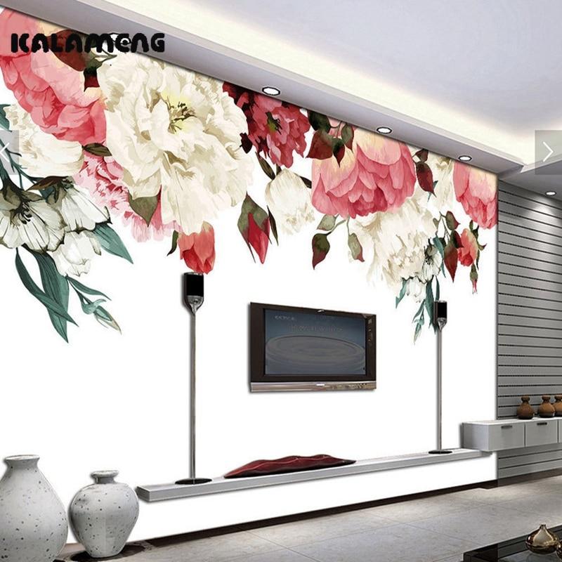 KALAMENG Benutzerdefinierte 3D Wallpaper Design Aquarell Rose Photo Kche Schlafzimmer Wohnzimmer Wandmalereien Papel De Parede