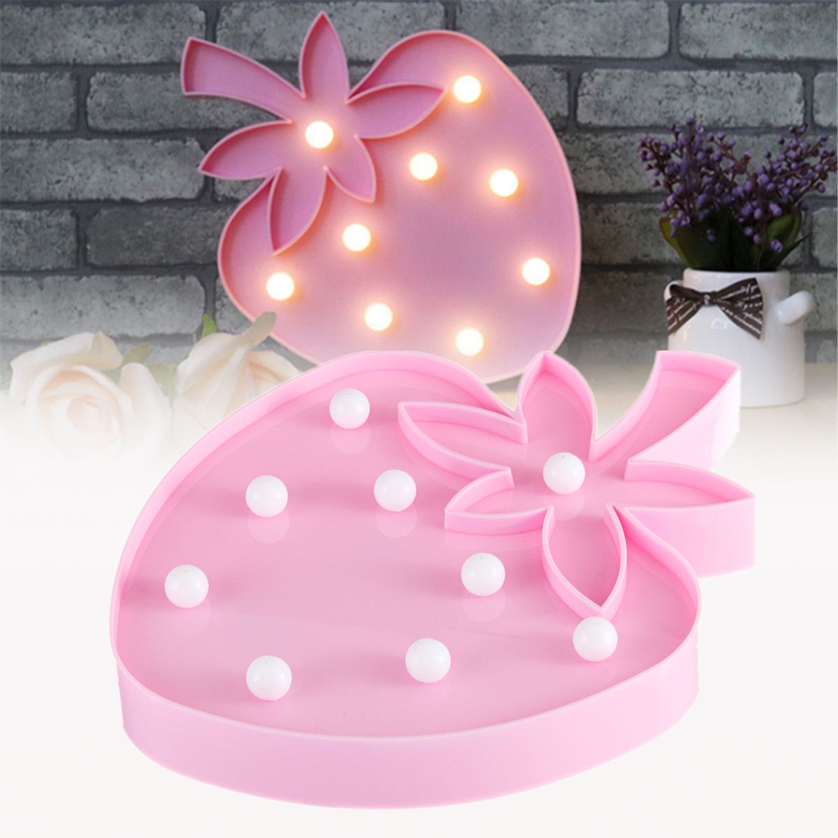 Strawberry Novelty Battery Operated LED Circus Marquee Night Light Decorative Wall Lamp Baby Kids Bedroom Home Decor Gifts