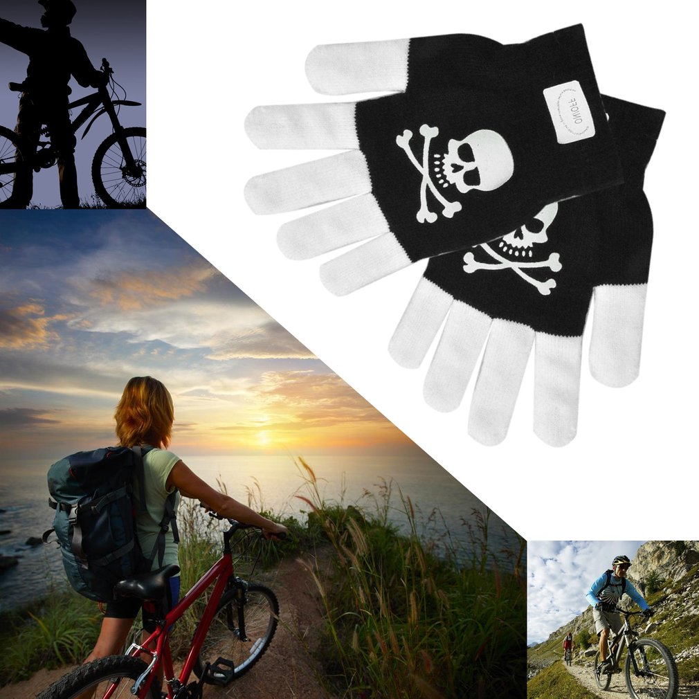 LED Light Emitting Stage Performing Night Riding Gloves Cool Flash Gloves Luminescence Sport Gloves All Cover Skull Pattern