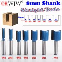 7PC 8mm Shank High Quality Straight Dado Router Bit Set 6 8 10 12 14 18