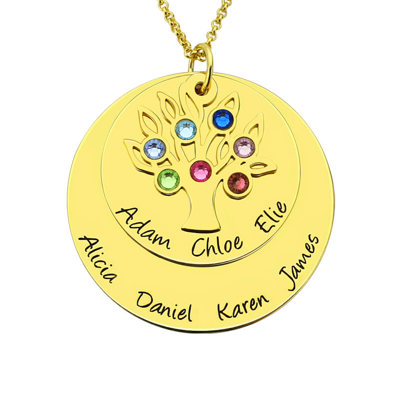 Wholesale Personalized Gold Color Family Tree Birthstone Mother Necklace Layered Disc Family Name Necklace Gift for Mom&Grandma vintage alloy tree leaf feather layered necklace