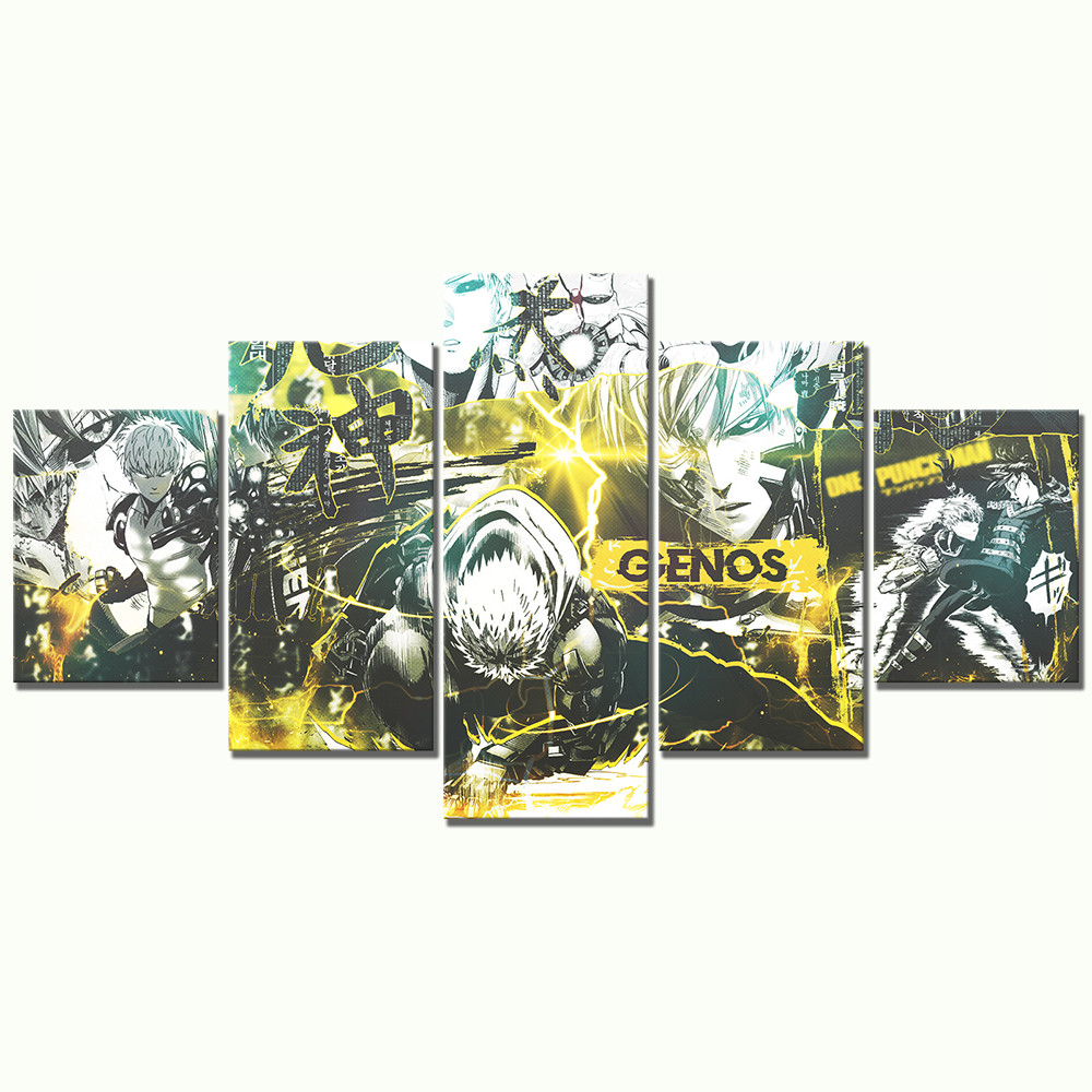 5 Piece HD Cartoon Drawing Art ONE PUNCH MAN Genos Anime Poster Canvas Oil Painting Wall Art for Home Decor 3