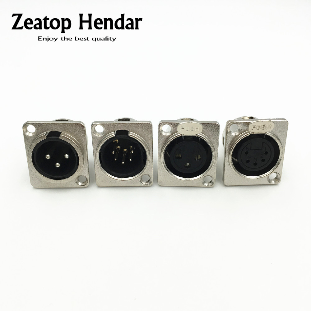 small resolution of 1pcs metal 3 5 pin xlr male female chassis connector push type xlr panel mount wire connector audio speaker jack socket