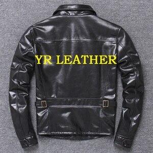 Image 2 - YR!Free shipping.Wholesales.Brand Japan style leather jacket men.black genuine cow leather coat.slim classic brakeman jacket
