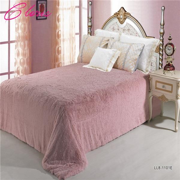 přehoz na postel - CLORIS Luxurious Solid Color  Warm Bedspread On Bed 220*240CM Fashion Bedding Faux Fur Blanket