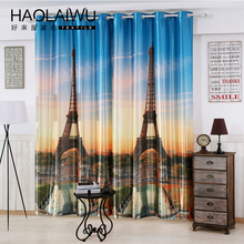 Free Shipping Modern Style 3D Digital Print Curtain Eiffel Tower Blackout Curtain For Living Room Window