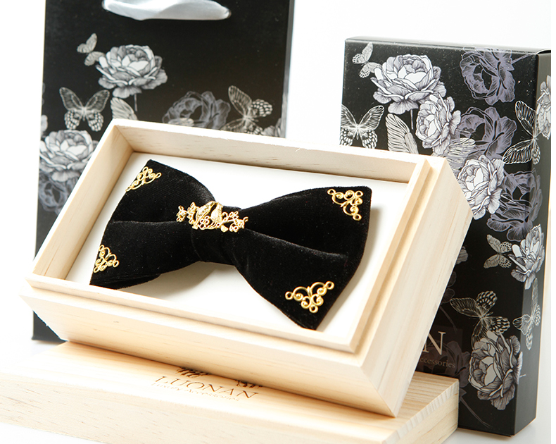 Free ship mens luxury 100% handmade black with golden alloy bow knot tie/bow tie/stage/event/stage performance tuxedo bow tie