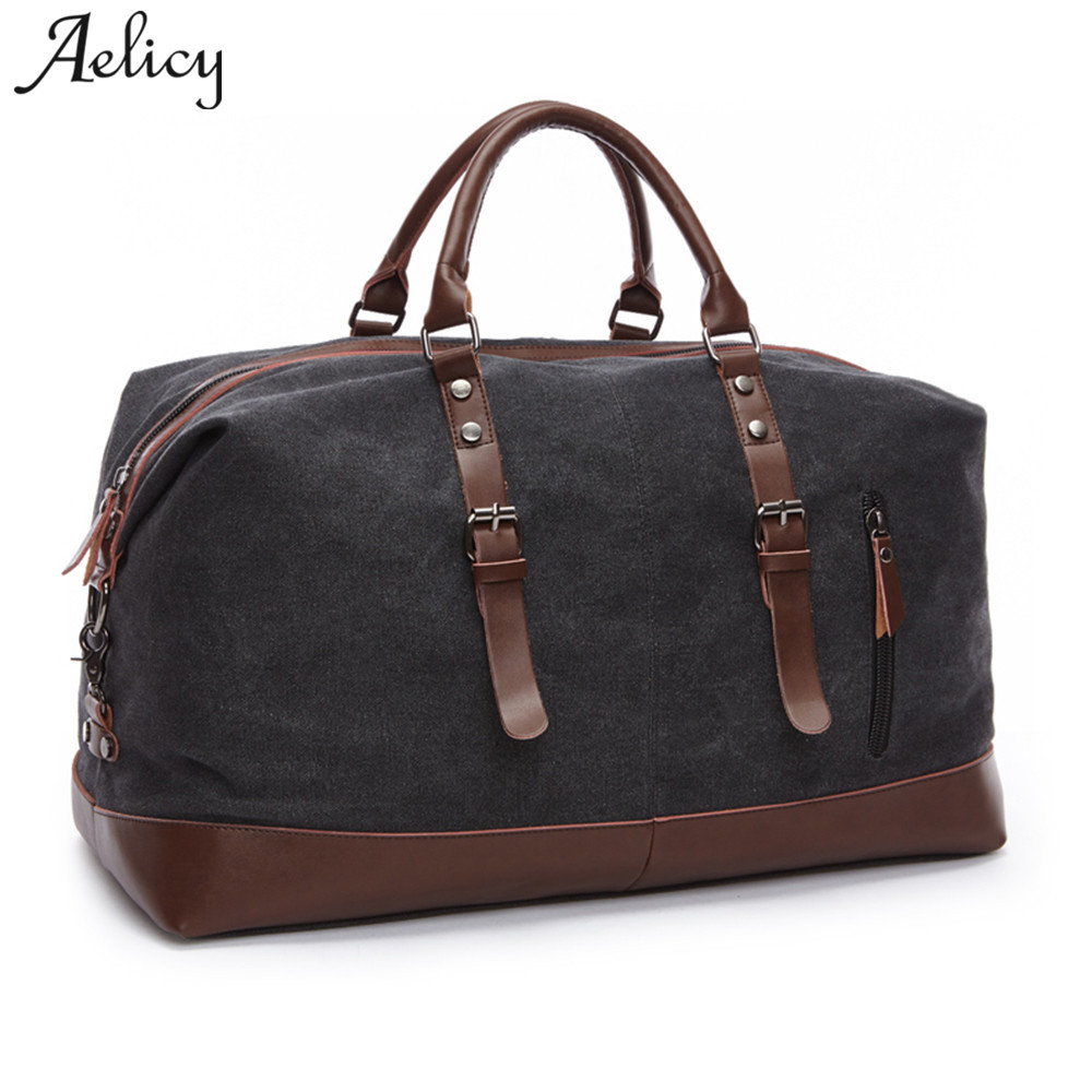 Aelicy Canvas Leather Men Travel Bags Carry on Luggage Bags Men Duffel Bags Travel Tote Large Weekend Bag Overnight sac a main