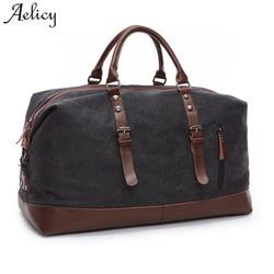 Aelicy Leinwand Leder Männer Reisetaschen Tragen auf Gepäck Taschen Männer Duffel Taschen Reise Tote Große Wochenende Tasche Übernachtung sac ein haupt