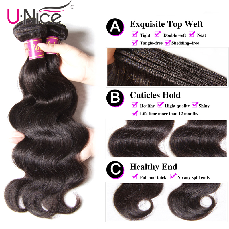 Image 4 - UNice Hair Peruvian Body Wave Hair Bundles 100% Human Hair Extensions 8 30inch Remy Hair Weaving Natural Color 1 Piece-in Hair Weaves from Hair Extensions & Wigs