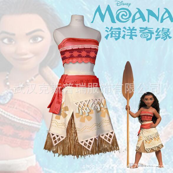 2017 Moana Cosplay Costume Sexy Princess Costume Halloween Suit Movie Moana Costume Adult Women Girls Party Dress