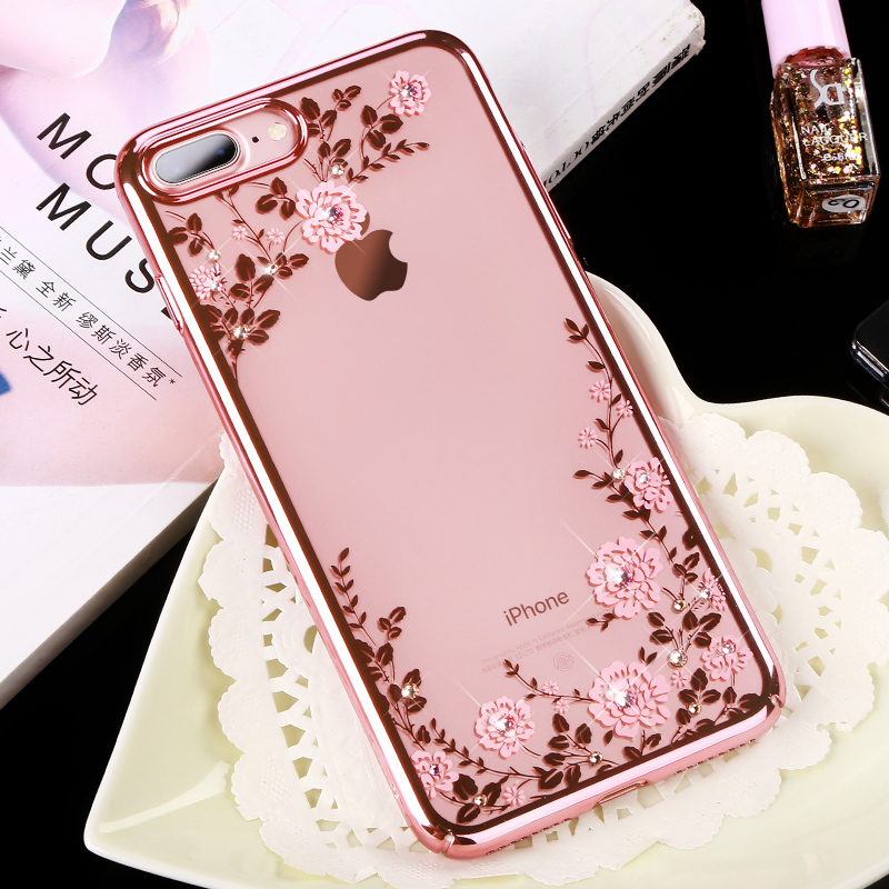528574711 KAVARO for iPhone 7 8 Plus Case Crystals from Swarovski Plated PC Floral  Phone Cases for