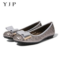 YJP Women Buttterfly Knot Ballet Flats Gold Black Gray Sewing Plaid Bowtie Flat Shoes Lady PU
