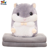 Plush Hamster Portable Blanket Stuffed Toy Doll Baby Shower Car Air Condition Travel Rug Office Nap