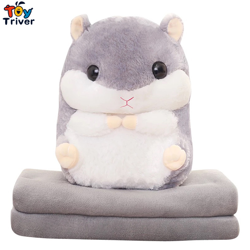 Plush Hamster Portable Blanket Stuffed Toy Doll Baby Shower Car Air Condition Travel Rug Office Nap Carpet Birthday Gift Triver