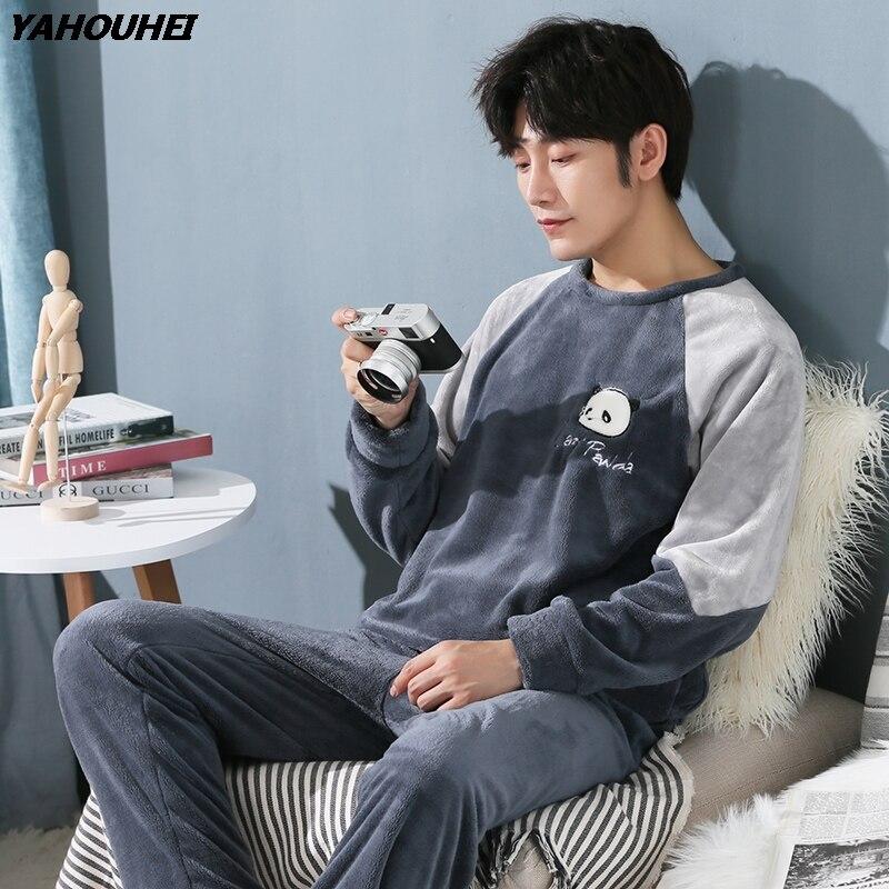 Plus Size 5XL Thick Warm Flannel Cartoon Pajama Sets For Men 2019 Winter Long Sleeve Coral Velvet Pyjama Homewear Lounge Clothes