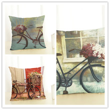 2017 New Arrival Creative Fashion Bike Pillow Cushion Cover Home Decorative Printed Throw Pillowcase Cojines Almofada