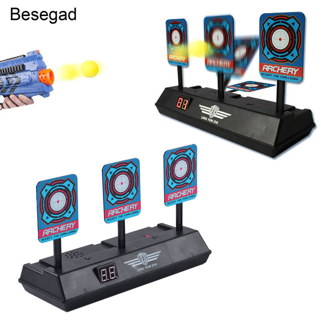 2ad7f55e9 Kids Auto-Reset Electronic Shooting Scoring Target Toys with LCD Display  Sound Effect for Nerf Soft Bullets Shooting Game Gift