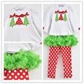 Одежда для младенцев комплект дети комплект девочки костюмы белый длинная - рукав T рубашка + красный пачка брюки размер 2 T - 6 T
