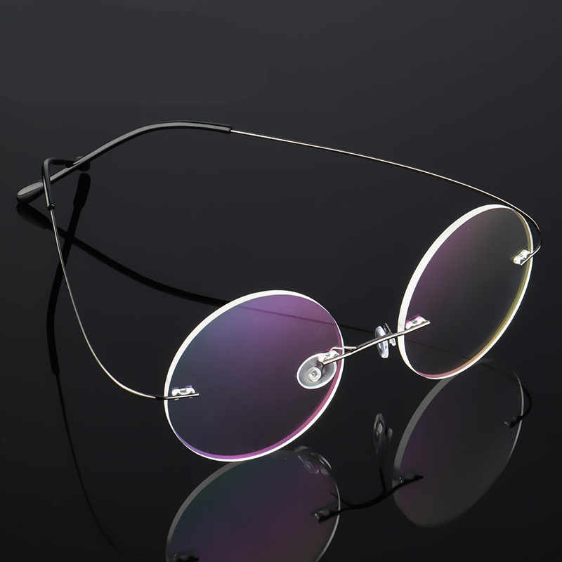f8dfb9b744ee ... Steve Jobs Star Style Ultra-light Memory Titanium Wired Rimless Round  Myopia Eyeglasses Optical Glasses
