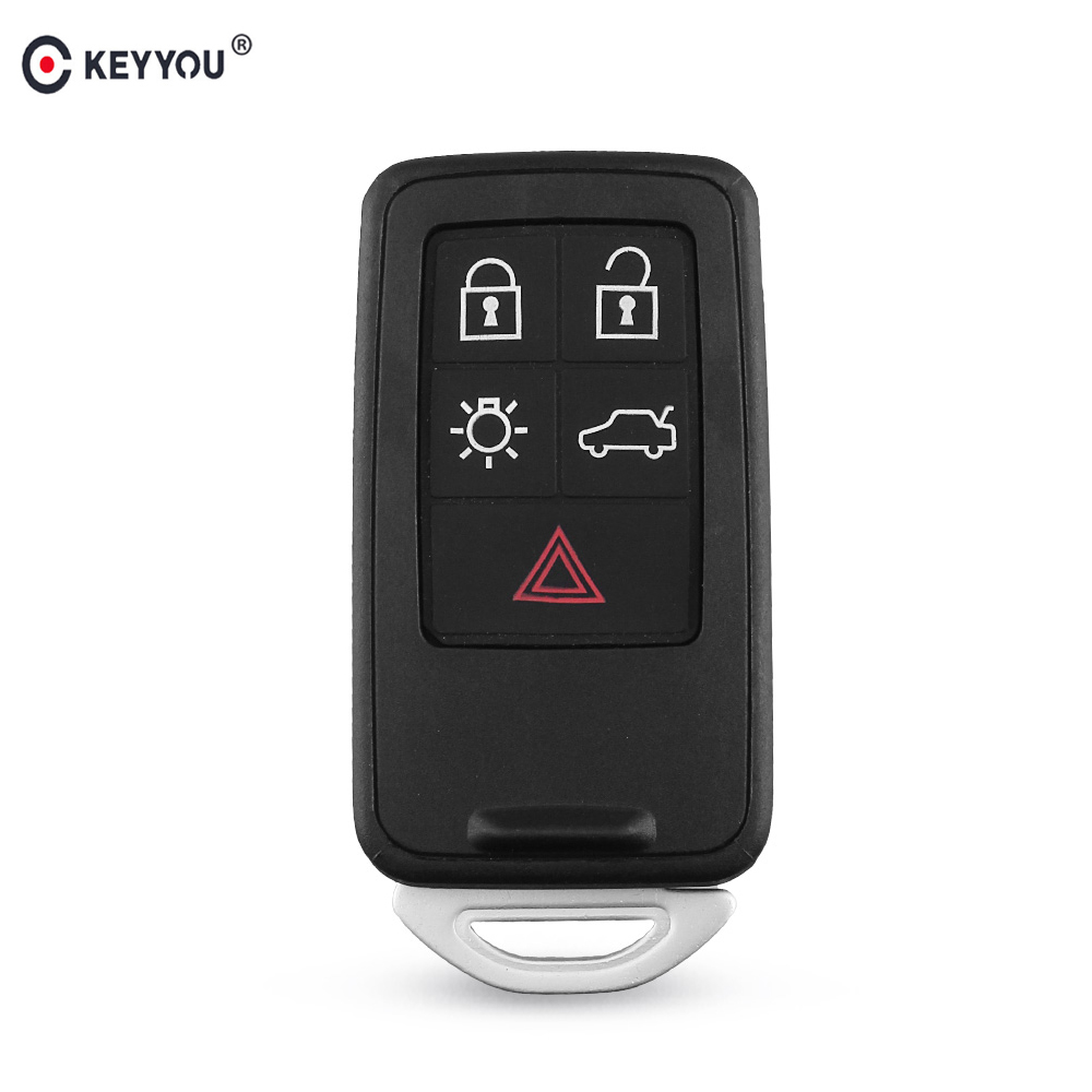 KEYYOU Replacement Smart Remote Car Key Shell Case Fob 5 Buttons For Volvo S60 V60 S70 V70 XC60 XC70 2007-2017 Key Cover