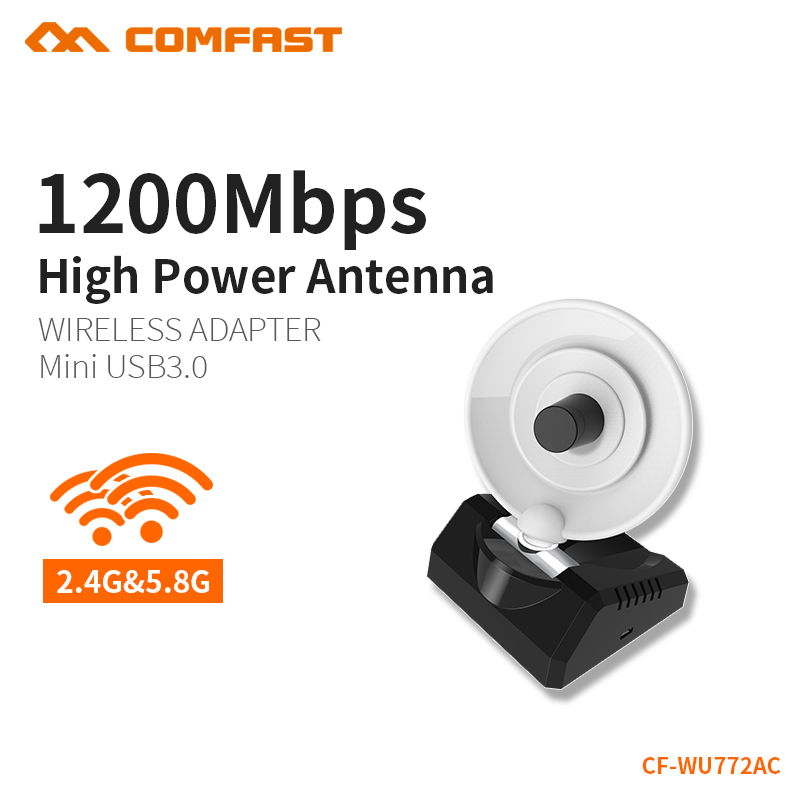 COMFAST Gain Élevé Wifi Adaptateur 5.8G 1200 mbps Dual Band PC Récepteur 10dBi Wi-fi USB 3.0 Antenne Windows 7 8 10 MAC OS CF-WU772AC