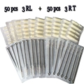 3RL+3RT 50pcs Disposable Tattoo Needles and 50pcs Matched Tattoo Tips Needle with white black tips tattoo kit free shipping