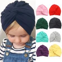 Милые шапочки для маленьких мальчиков и девочек, хлопковые мягкие шапочки-тюрбан с скрученным узлом, шапочки для малышей, Детские шапочки для новорожденных