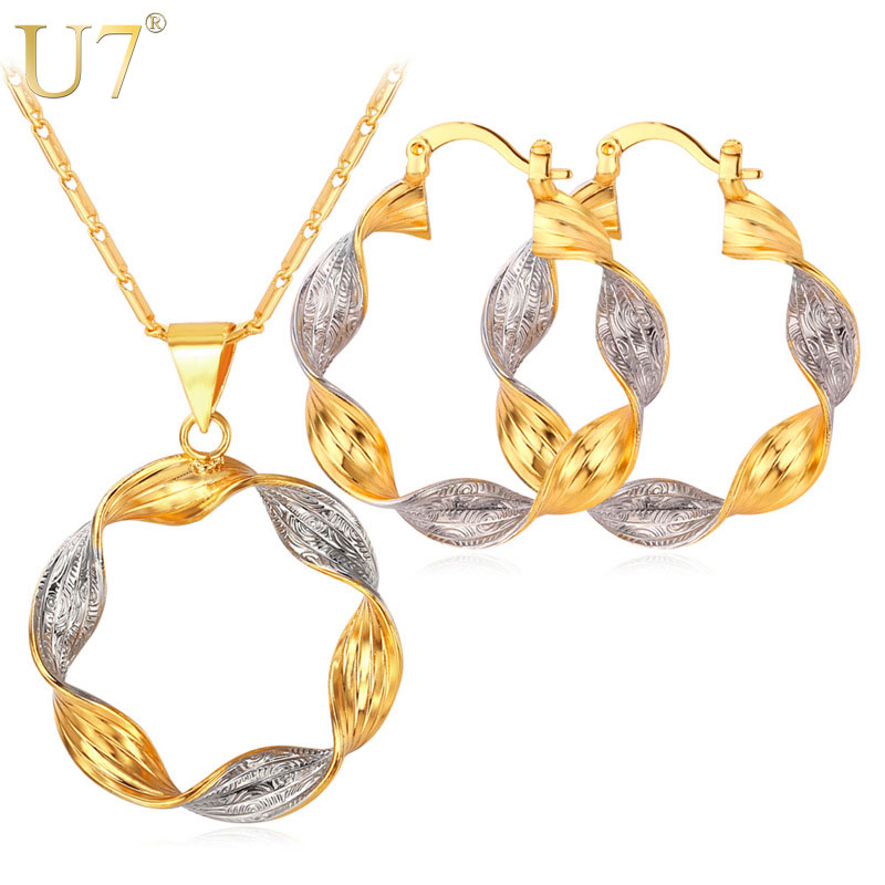 U7 Conjuntos de joyas Mix Silver Gold Color Two Tone Round Hoop Earrings and Pendant Necklace Set For Women Gift S663