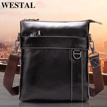 255880e6af7c WESTAL натуральная кожа сумка Для мужчин мужская сумка из натуральной кожи  Для мужчин небольшой Повседневное лоскут мужчины Crossbody сумки для Дл..