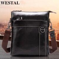 WESTAL genuine Leather Messenger Bag Men's shoulder bag Genuine Leather Men's Small Casual Flap male Crossbody Bags For men 9010