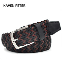 Unisex Casual Waistband Canvas Woven Leather Belt With Wax Rope And German Bonded Leather Mixed