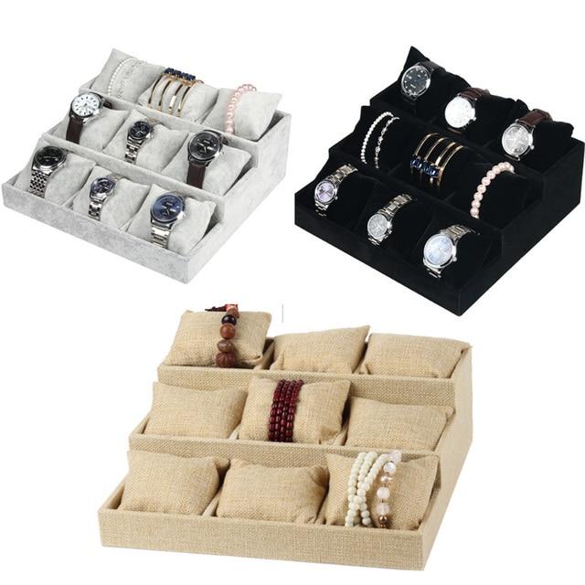 Luxe Fluwelen 3 Tier Armband Sieraden Display Lade Met Kussens Bangles Storage Lade 9 Grid Sieraden Organisator Horloge Standhouder