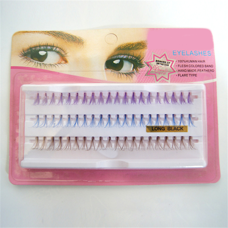 3 Colors 60 Cluster Lashes Human Hair Individual Eyelashes Brown Blue Purple Mixed in One Tray Color Lash Extension Trays