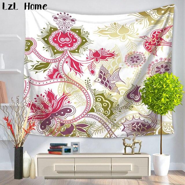 Lzl Home Flowers Birds Kirigami Pattern Tapestry Indian Mandala Wall
