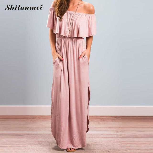f11668602e7 Boho Ruffle Women Pink Summer Oversized Beach Dress off shoulder backless  Gothic Party Vestido large size long maxi dress black
