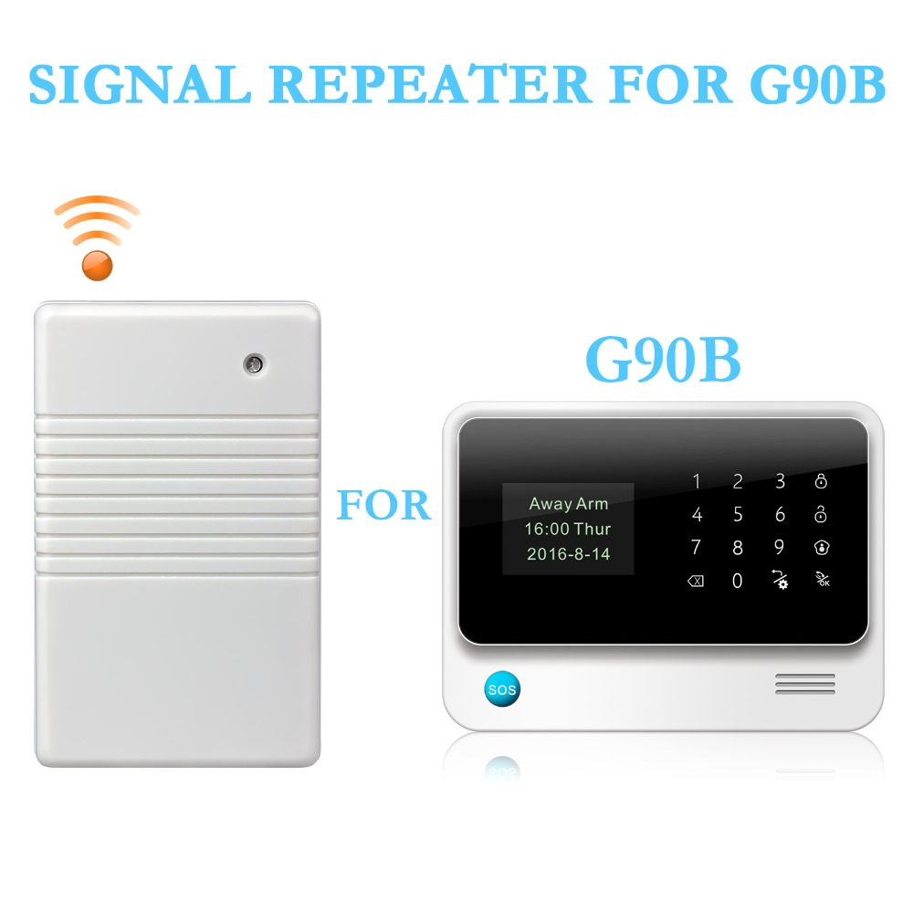 433MHz Wireless Signal Repeater Transmitter Signal Expander Extender For Home Security G90B Alarm System PIR Door Detector golden security wireless signal repeater booster extender dual antenna transfer for home alarm security system 433mhz