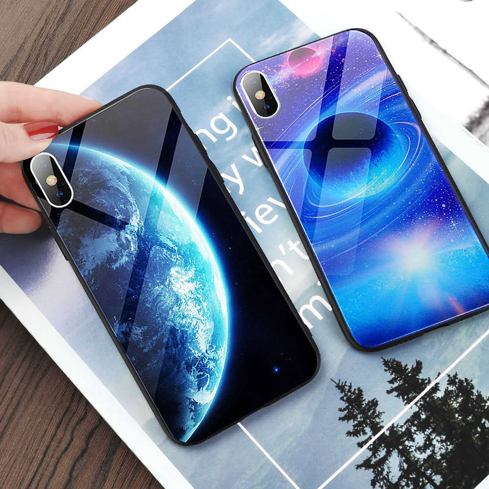 Glas Telefoon Case Voor iPhone 11 X XS Max XS Star Space Cover Case Voor iPhone 8 7 6 6s Plus X antiklopmiddelen Case Silicone Coque