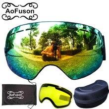 Marca gafas de snowboard y Amarillo lente de la visión nocturna y caja máscara de esquí esférica de doble capa anti-vaho gran visión conjunto de gafas de esqui