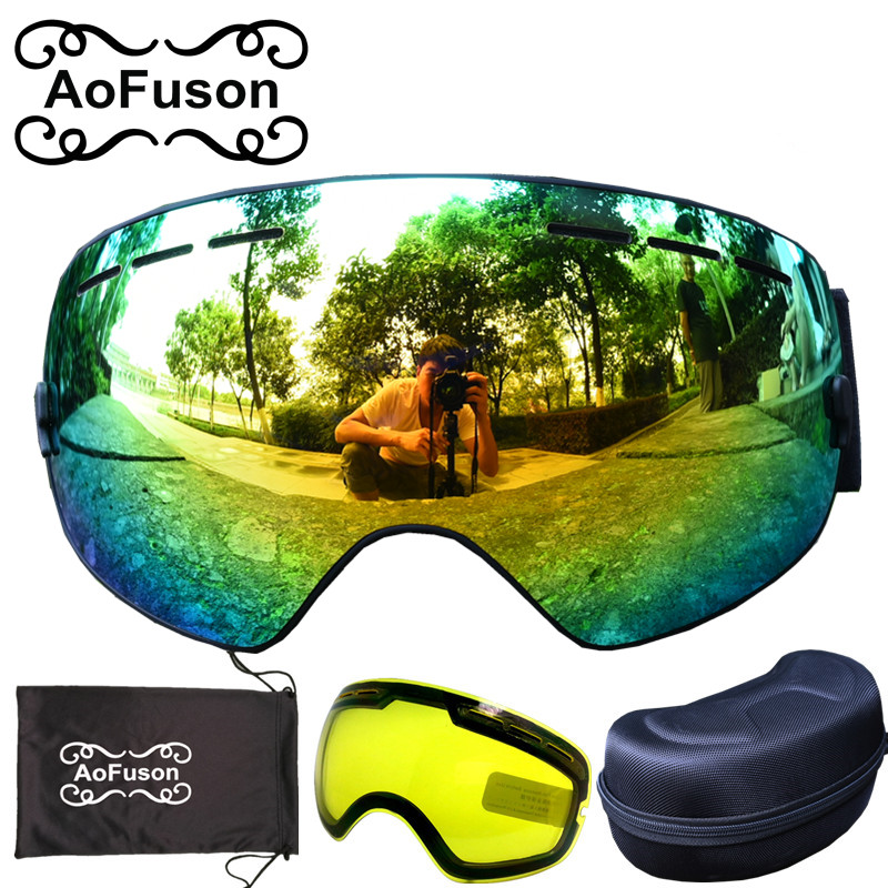 Brand snowboard ski goggles &Yellow night vision lens&box double layers anti-fog big vision spherical skiing mask glasses set pelliot brand ski goggles double layers