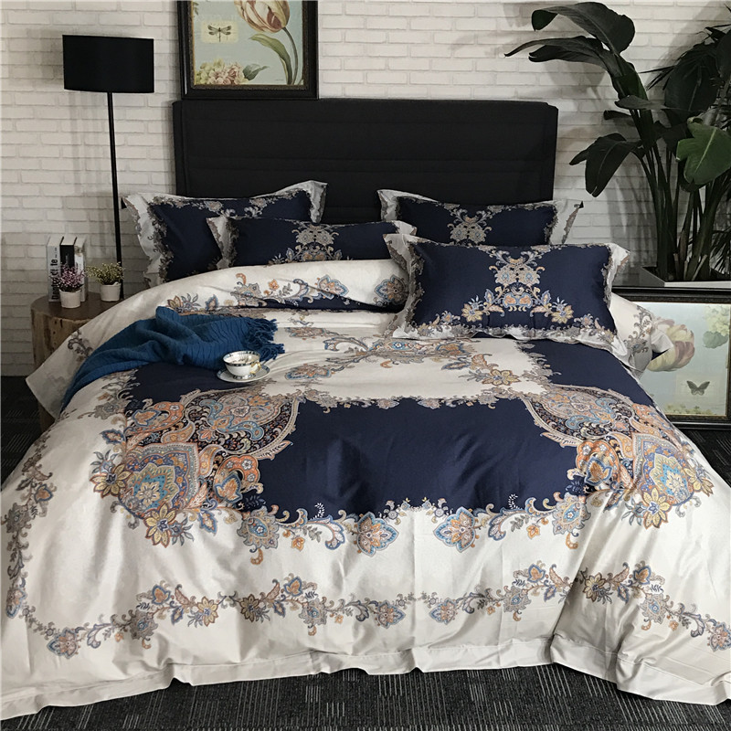 High Quality!Bohemia style Egyptian cotton Bedding Sets Bed Sheet king Queen Size Pillowcase Duvet Cover Sets 4pcsHigh Quality!Bohemia style Egyptian cotton Bedding Sets Bed Sheet king Queen Size Pillowcase Duvet Cover Sets 4pcs
