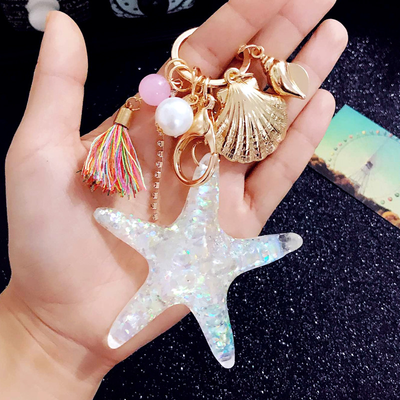Fancy&Fantasy Hot New Cartoon Sea World Starfish Pearl Shell Keychain Key Chain KeyRing Crystal Pendant Keychain Women Gift