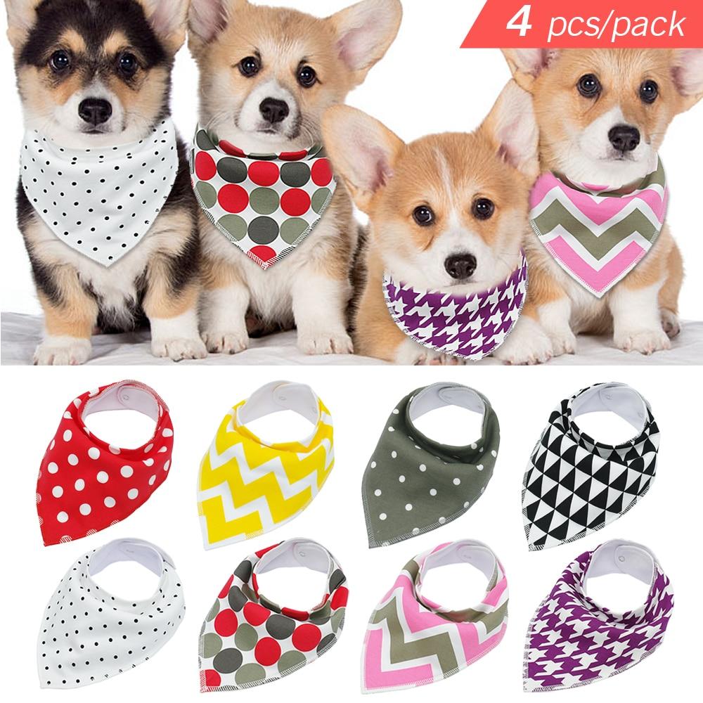 4 piezas ajustable perrito gato collares Pet bufanda pañuelo Collar Grooming accesorios para pequeño mediano grande perro Chihuahua